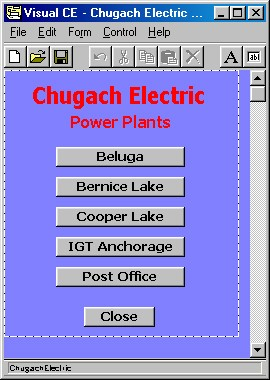 Main menu of Chugach Electric handheld database application allows user to select power plant.